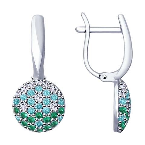Серебряные серьги с цветными фианитами от SOKOLOV