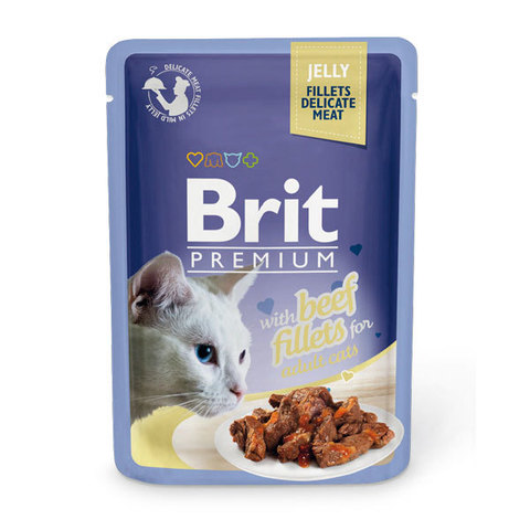 Паучи Brit Premium Jelly Beef fillets для кошек