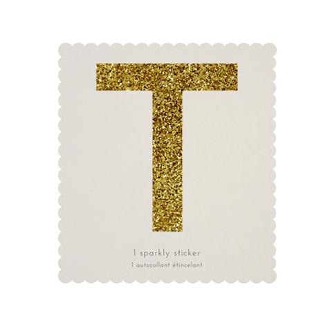 Стикер T, мерцающее золото