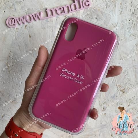 Чехол iPhone XR Silicone Case /dragon fruit/ тёмная фуксия 1:1