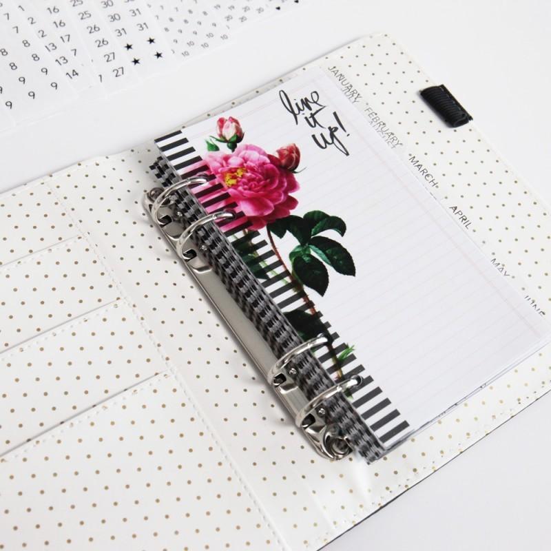 Ежедневник с наполнением  Heidi Swapp Personal Memory Planner 14х20см -Black & White Stripe