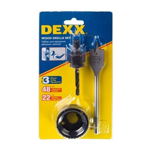 Набор для врезки замков DEXX: Коронка-чашка d=48мм, сверло перовое d=22мм, центрирующее сверло d=6мм