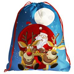 Рюкзак-мешок  именной 3D Санта олени луна