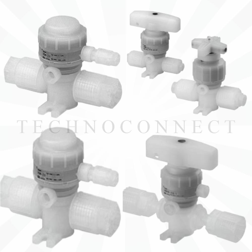LVQ20-T06R-1   2/2 Н.З. хим. стойкий пн.клапан с патрубком, диам. 6, с дросселем
