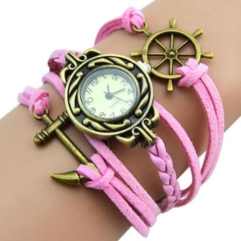 Часы-браслет с якорем и штурвалом (розовые)