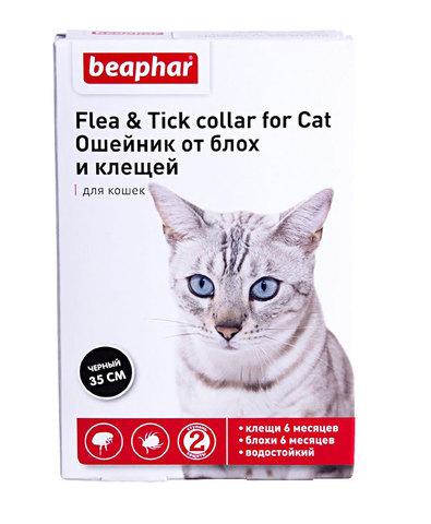 Beaphar Flea & Tick collar ошейник для кошек черный от блох (5мес) и клещей (2мес) 35см с 6 месяцев