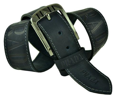 Мужской тёмно-синий кожаный ремень 45Millen-103