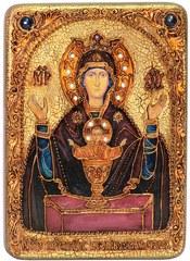 Инкрустированная икона Образ Божией Матери Неупиваемая чаша 29х21см на натуральном дереве в подарочной коробке