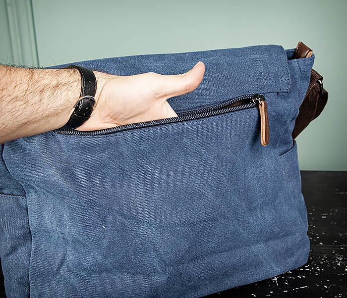 BAG504-3 Мужской портфель из плотного текстиля синего цвета фото 08