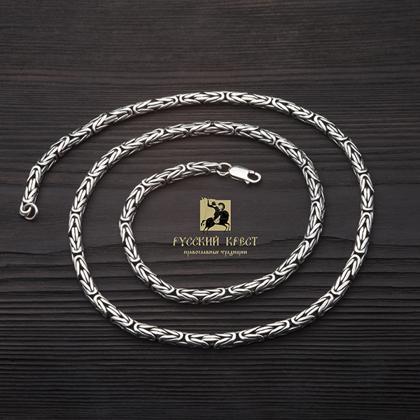 Серебряная цепочка плетение Кардинал. Квадратный