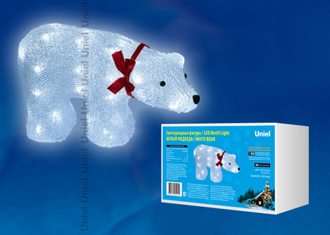 ULD-M3423-040/STA WHITE IP20 WHITE BEAR Фигура светодиодная «Белый медведь», 40 светодиодов, 34*12*23 см, белый, IP20