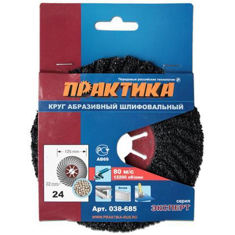 Круг абразивный торцевой ПРАКТИКА 125 х 22 мм Р 24 (1 шт)  картонный подвес