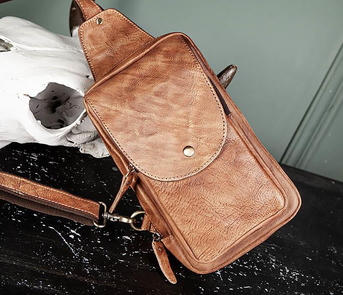 BAG444-2 Кожаный рюкзак с одной лямкой через плечо