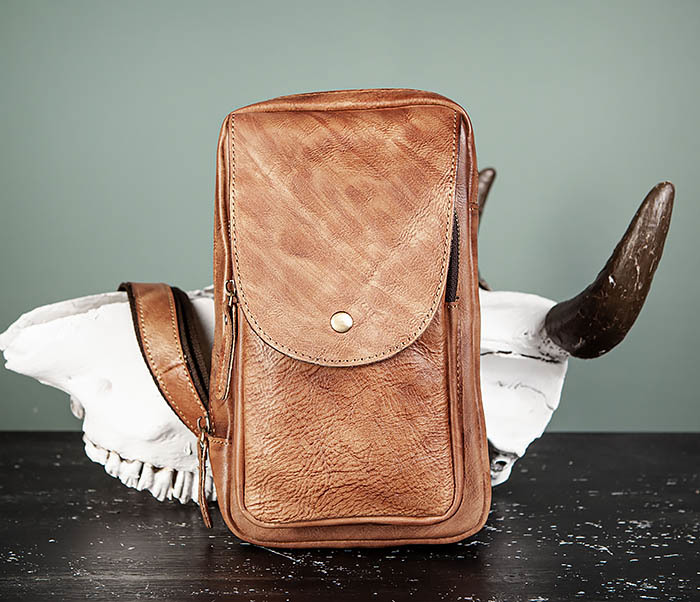 BAG444-2 Кожаный рюкзак с одной лямкой через плечо фото 02