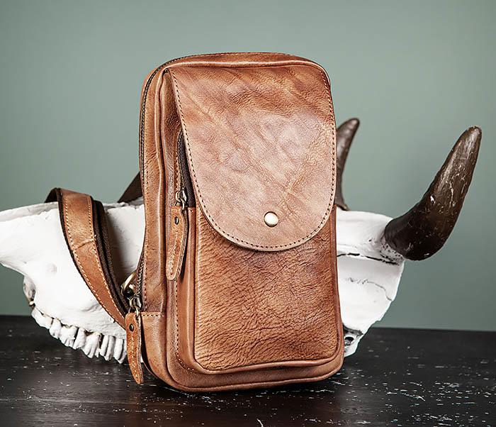 BAG444-2 Кожаный рюкзак с одной лямкой через плечо фото 03