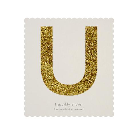 Стикер U, мерцающее золото