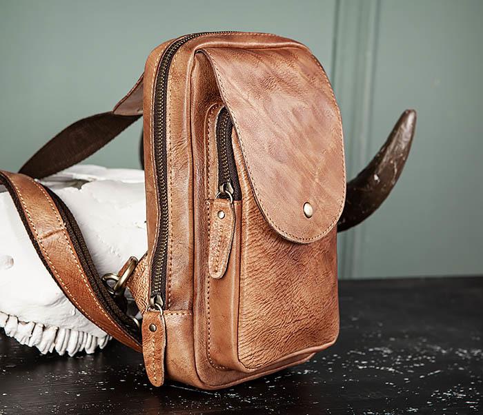 BAG444-2 Кожаный рюкзак с одной лямкой через плечо фото 04
