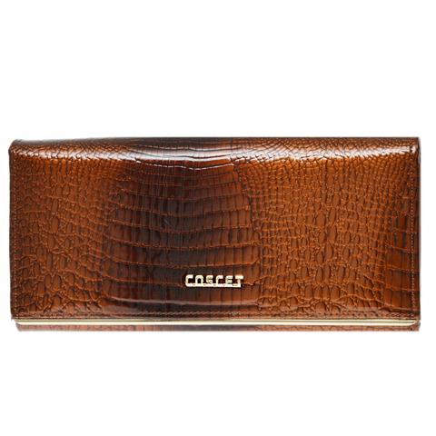 Коричневый кошелёк женский лаковый Coscet нат.кожа CS18-201C