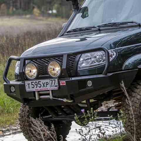 Установка переднего силового бампера УАЗ Патриот