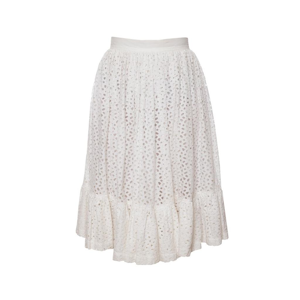 Пышная белая юбка из кружевного хлопка от Chanel, 36 размер.