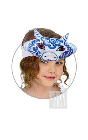 Фото Головной убор - маска Корова с Гжельской росписью рисунок Гжель жилет