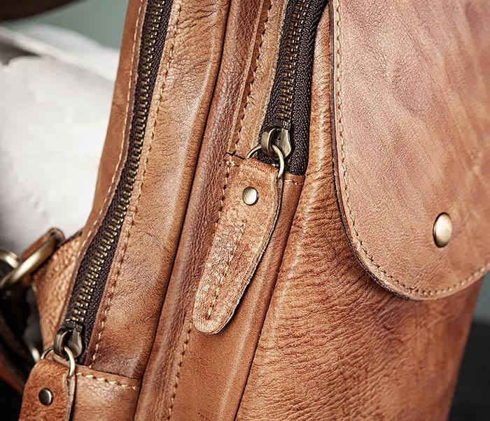 BAG444-2 Кожаный рюкзак с одной лямкой через плечо фото 05