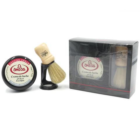 Набор для бритья Omega помазок дерево +мыло крем