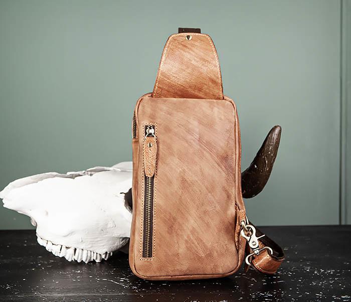 BAG444-2 Кожаный рюкзак с одной лямкой через плечо фото 07