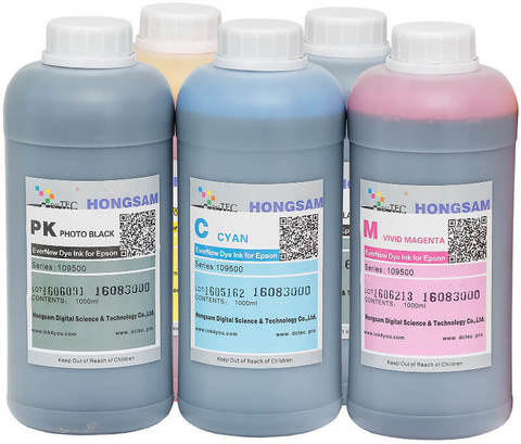 Комплект водорастворимых чернил для 5-ти цветных широкоформатных плоттеров Epson. 5x1000 мл