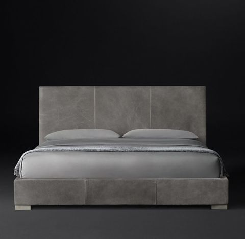 Modena Panel Non-Tufted Leather Platform Bed