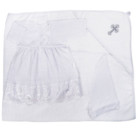 Папитто. Набор для крещения девочки, платье, косынка, полотенце