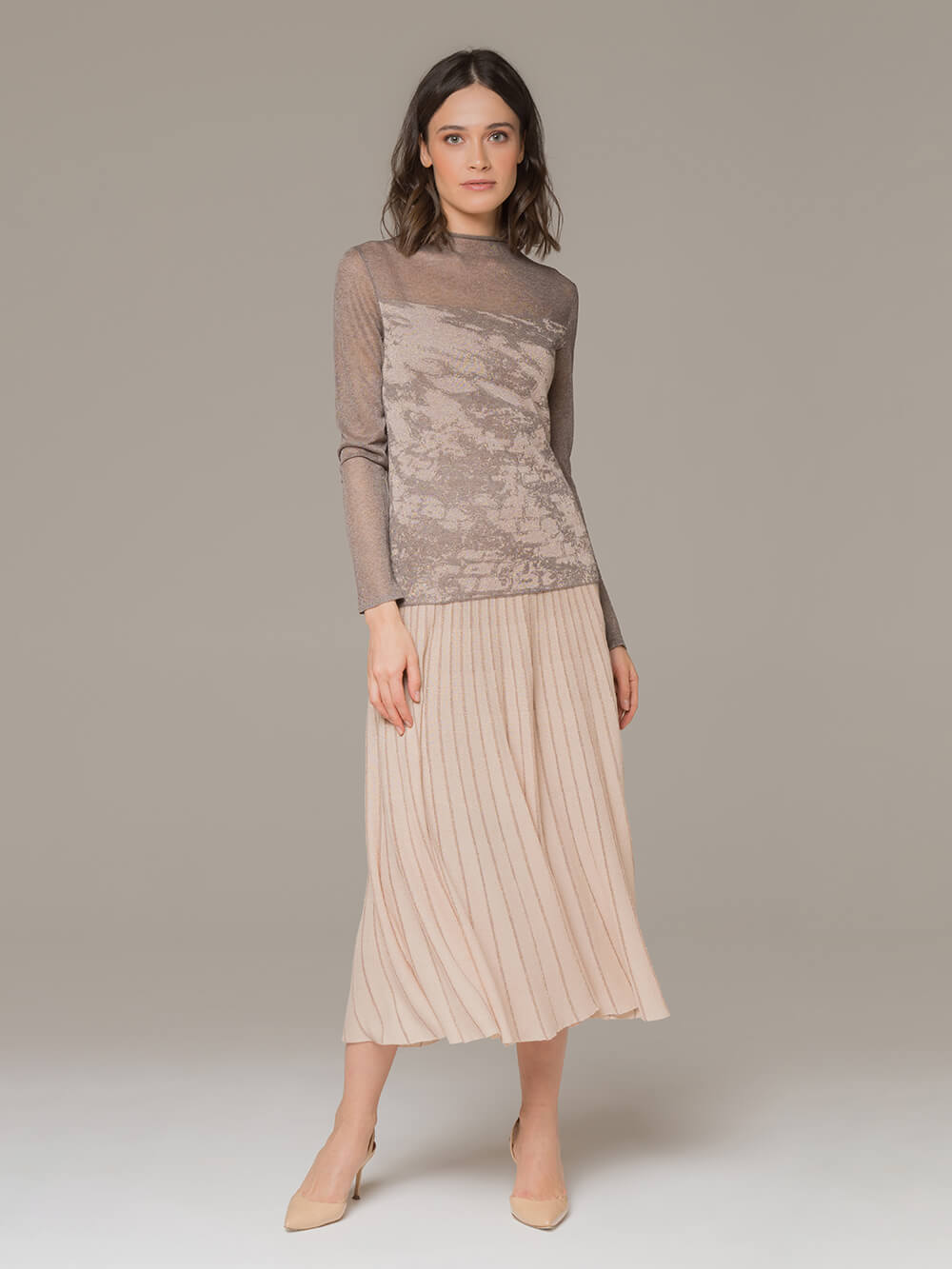 Женская юбка-миди бежевого цвета