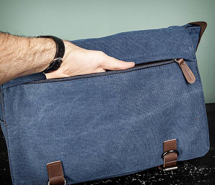 BAG504-3 Мужской портфель из плотного текстиля синего цвета фото 09