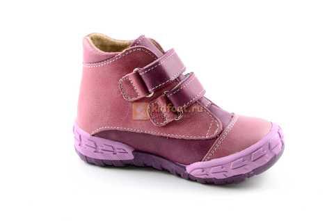 Ботинки Тотто из натуральной кожи на байке демисезонные для девочек, цвет фиолетовый. Изображение 2 из 11.