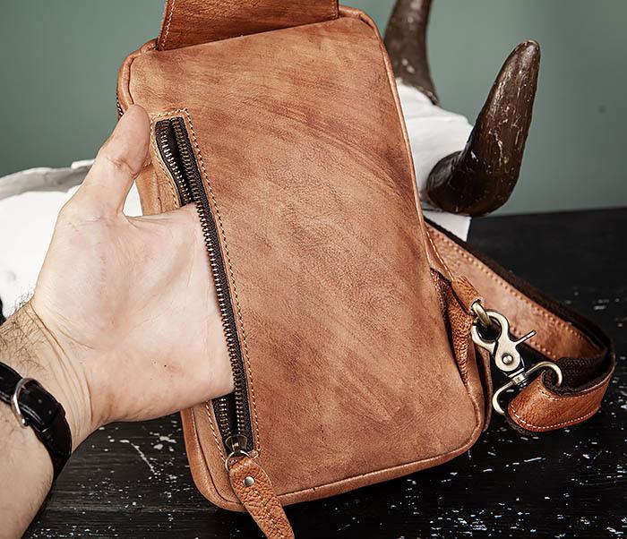 BAG444-2 Кожаный рюкзак с одной лямкой через плечо фото 09