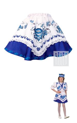 Фото Гжель синяя Юбка с имитацией платка рисунок Костюмы для утренников в детском саду по ценам производства. Лучшая цена на карнавальные, сценические и театральные костюмы. Купить с производства!