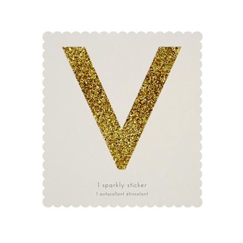 Стикер V, мерцающее золото