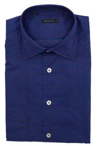 Синяя рубашка из мягкой ткани с розовым и голубым цветочным узором