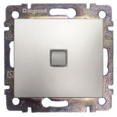 Выключатель одноклавишный с подсветкой - 10 AX - 250 В~. Цвет Алюминий. Legrand Valena Classic (Легранд Валена Классик). 770110