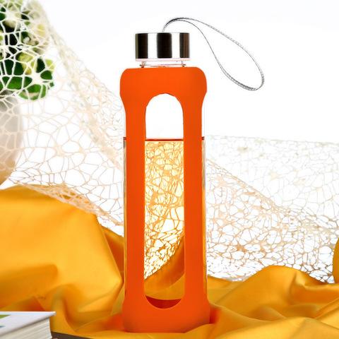 Бутылка стеклянная для воды 550 мл оранжевая