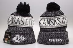 Шерстяная вязаная шапка футбольного клуба (Kansas City Chiefs) с помпоном