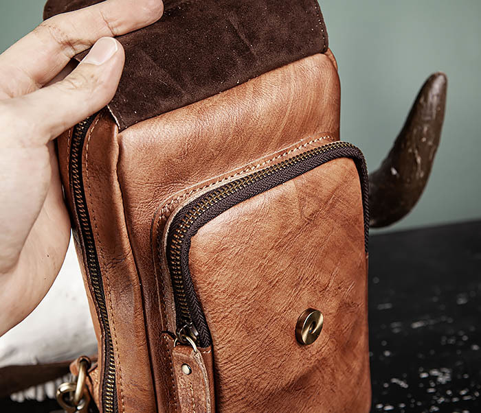 BAG444-2 Кожаный рюкзак с одной лямкой через плечо фото 11
