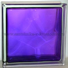 Стеклоблок фиолетовый волна окрашенный изнутри  Vitrablok 19x19x8