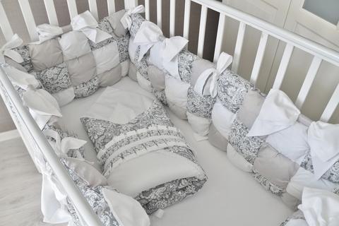 Комплект в кроватку Бомбон, серый на 4 стороны кроватки