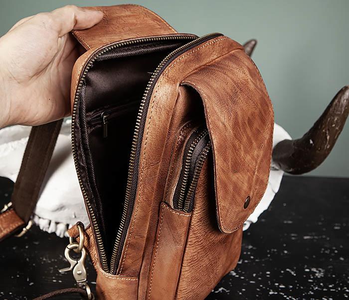 BAG444-2 Кожаный рюкзак с одной лямкой через плечо фото 13