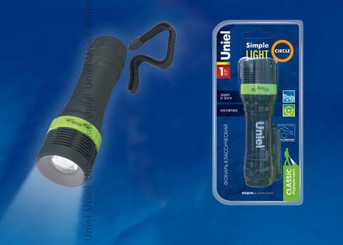 S-LD039-C Black Фонарь Uniel серии Стандарт «Simple Light – Circle», пластиковый корпус, 1 Watt LED, упаковка — кламшелл, 3хААА н/к, цвет - черный