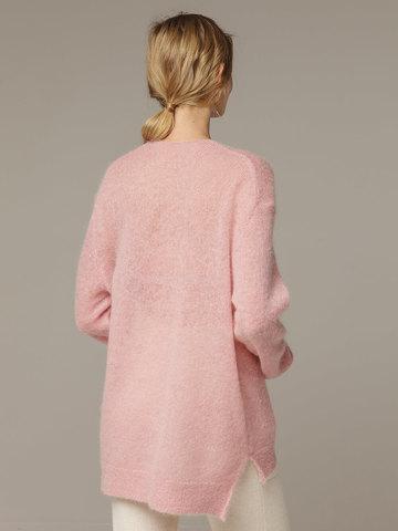 Женский розовый джемпер с V-образным вырезом 100% мохер - фото 3