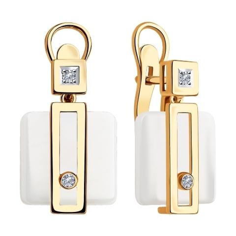 6025100 - Серьги из золота с белой керамикой и бриллиантами
