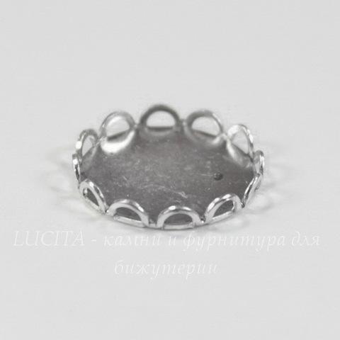 Сеттинг - основа для камеи или кабошона 13 мм (оксид серебра) (светлые)