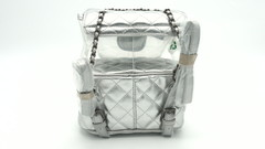Серебряный рюкзак с прозрачным карманом